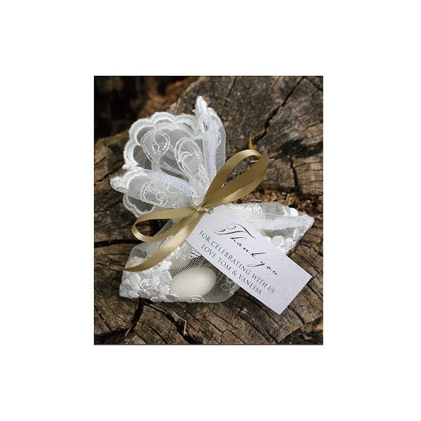 Atrium Lace Bonbonniere Bag - Wedding Bonbonniere / Bonboniere - Huetopia Design found on Polyvore