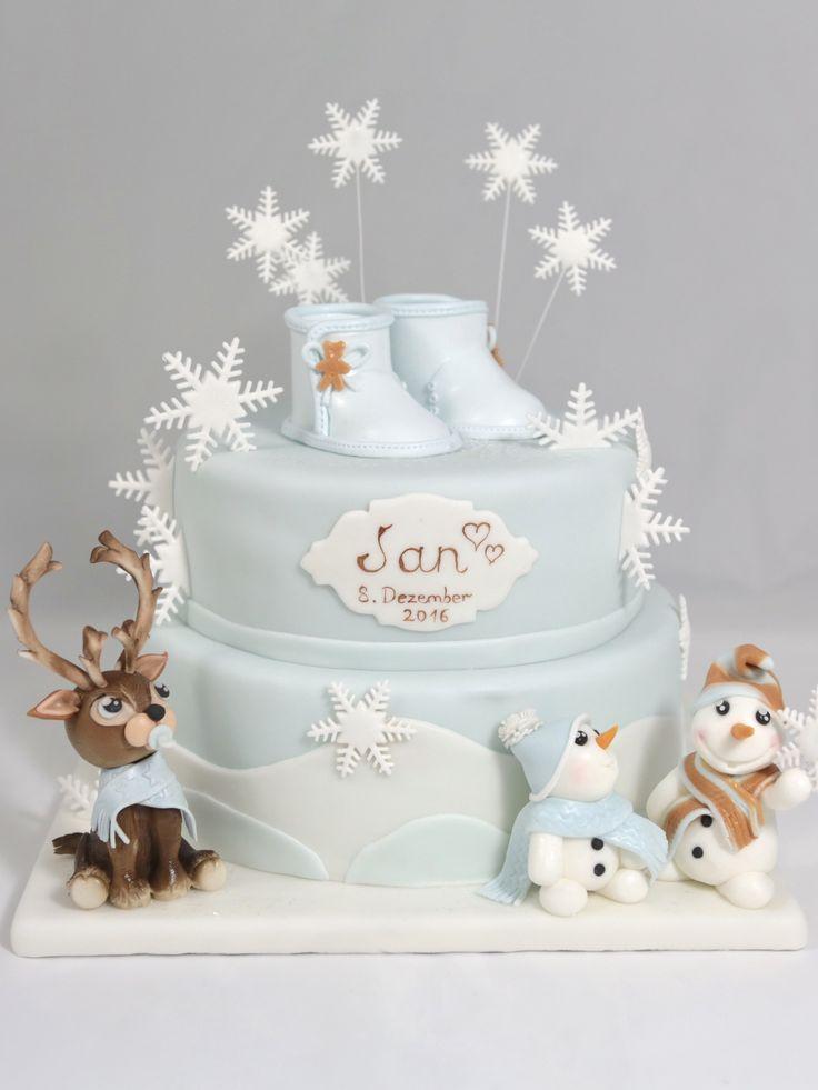 Taufe Taufe Kuchen Törtchen Winter Schneeflocken Schneeflocken Rentier Schneemann Renda   – world  cake super bon appetit