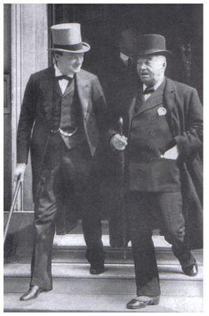 First Lord of the Admiralty Winston Churchill and First Sea Lord Fisher, 1914.