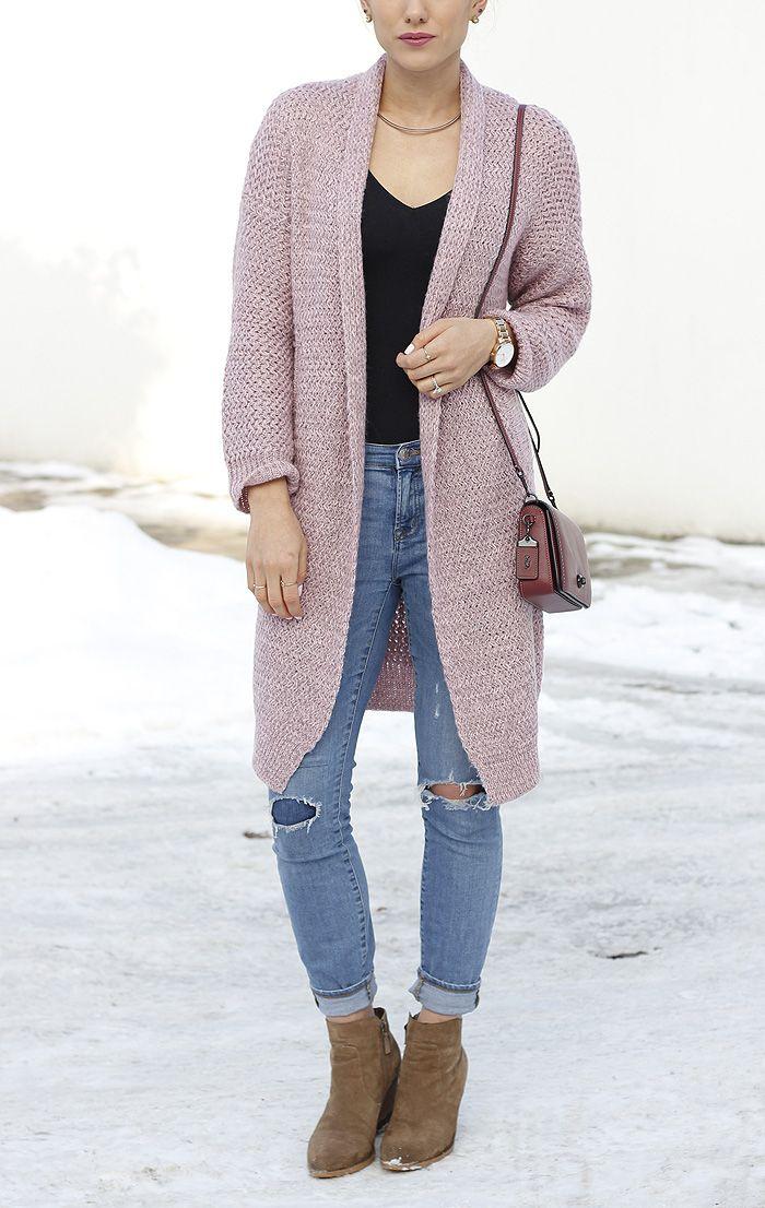 Pink cardigan outfit for every season via Seeking Sunshine