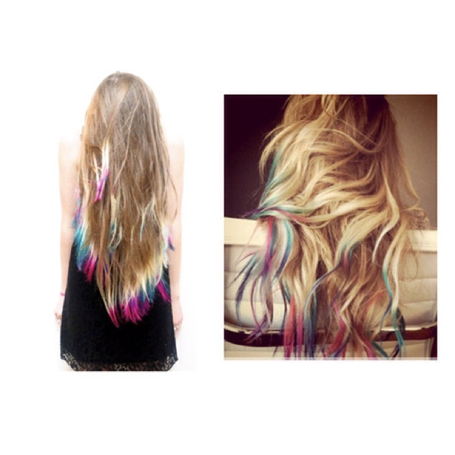 Colorful hair ends