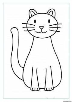 Printable Cat coloring pages for kids - easy quilting pattern