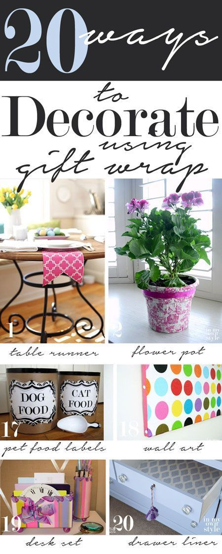20 budget-friendly ways to decorate your home using gift wrap.   In My Own Style