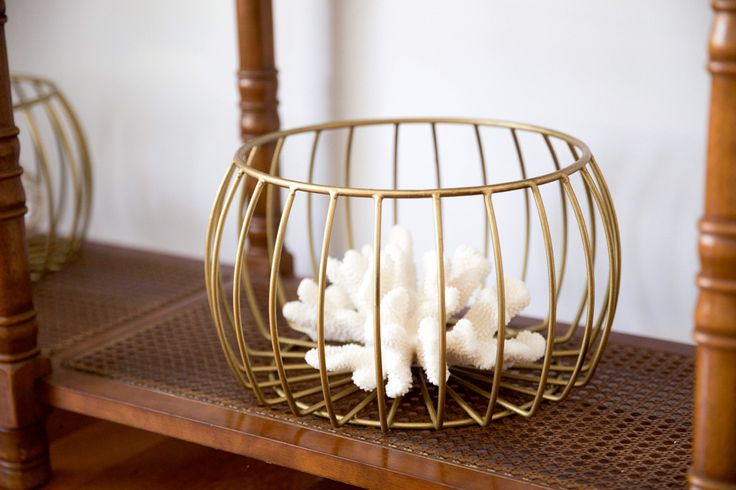 Gold painted metal baskets - decorator coral
