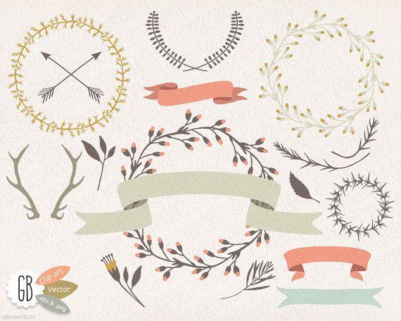 Wreaths, laurels, ribbons, clip art, vector, wild folk flowers, invitation, stationery, antlers, arrows, flower wreaths, instant download