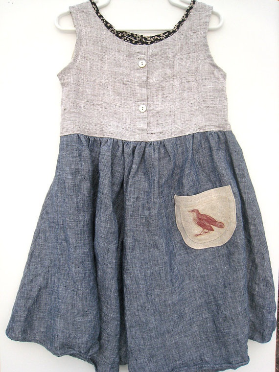 upcycled linen playdate dress with vintage bird pocket