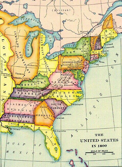 US Map in 1800 prior to the Louisiana Purchase.