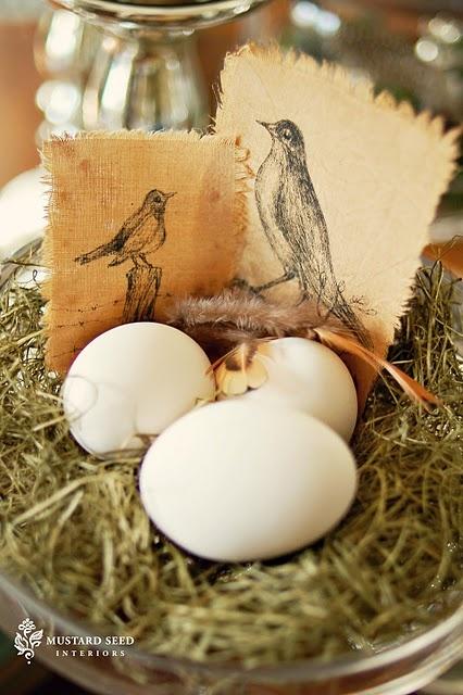 Birds printed on fabricBirds Prints, Staging Ideas, Decor Ideas, Birds Nests, Spring Decor, Easter Spr, Mustard Seeds Oth, Miss Mustard Seeds, Stuff Inspiration