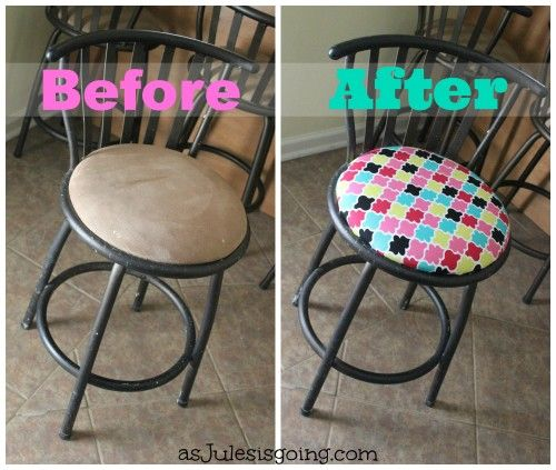 Reupholstering Bar Stools for Newbies (before and after) CHEAP and EASY fix or personalize your out of date or super loved on bar stools.