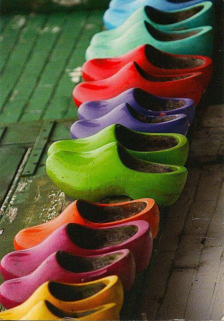 Klompjes; HollandKlompen, Wooden Clogs, Holland, Rainbows, Wooden Shoes, Dutch, Colors Clogs, Colours, Art Shoes