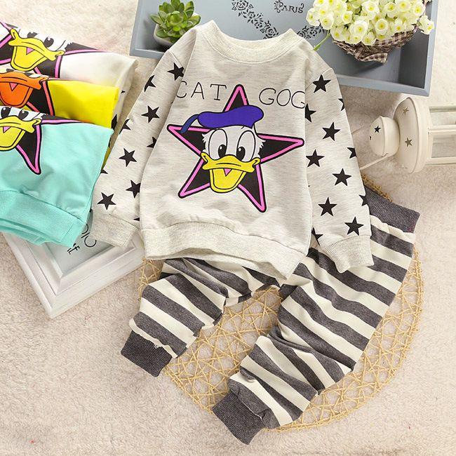 2016 New fashion cotton spring unisex baby clothing sets children boys cute suits babies tops+pants 2pcs set infant girl clothes