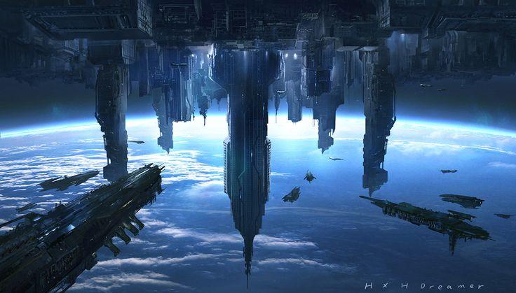 concept ships: Spaceships by Xiaohui Hu