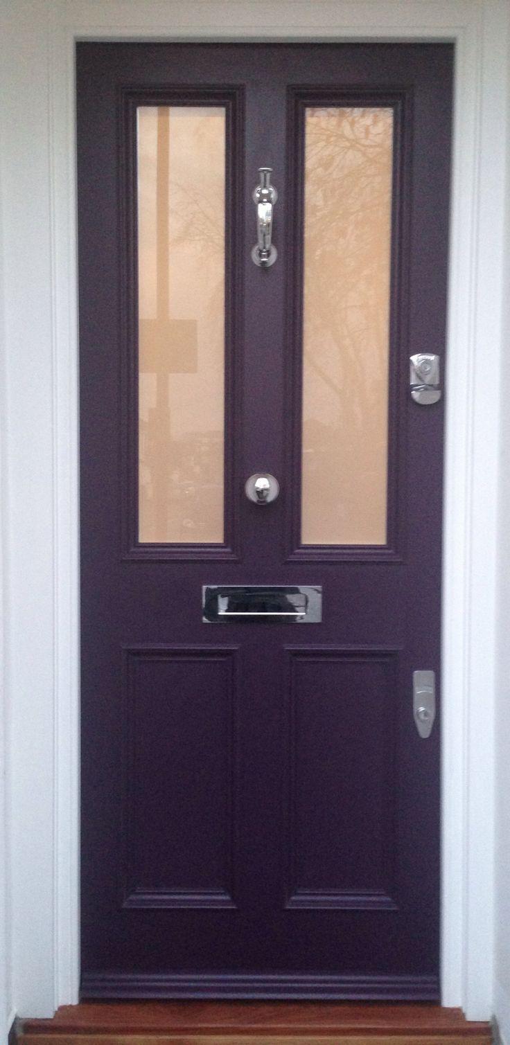 Splendid victorian front door in farrow ball 39 s pelt no - Farrow and ball exterior door paint ...
