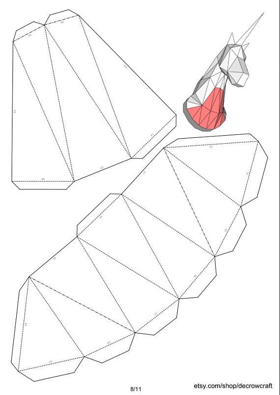 "Unicorn Paper Head DIY Template Wall Trophy 40 cm Measurement ""L"" Papercraft Pepakura PDF Sample Obtain"