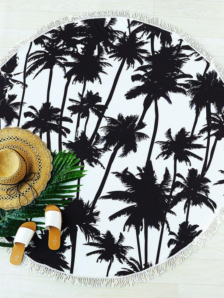 Noir, cocotier, impression, frange, trim, rond, plage, couverture-French SheIn(Sheinside)