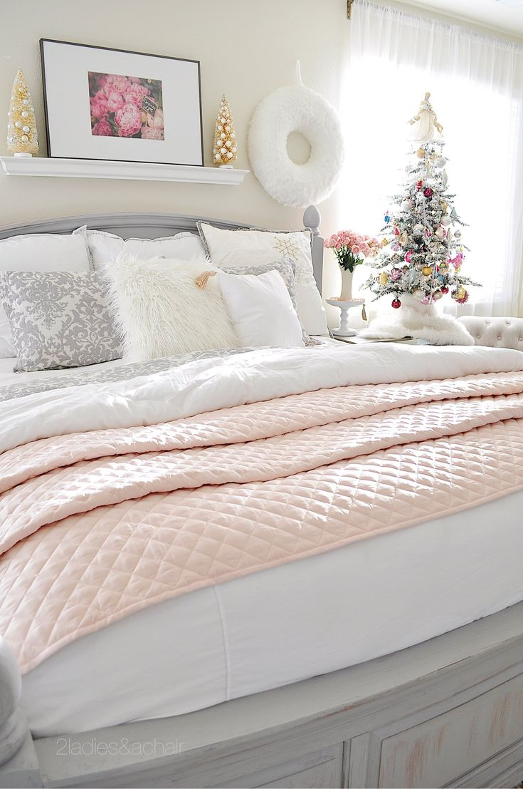 I love having a tree in my bedroom! My bedroom already has a rustic romantic feel with the chalk painted headboard and pink quilt from HomeGoods! This small flocked tree, also from HomeGoods, is irregular in shape making it look quite natural. Sponsored by HomeGoods