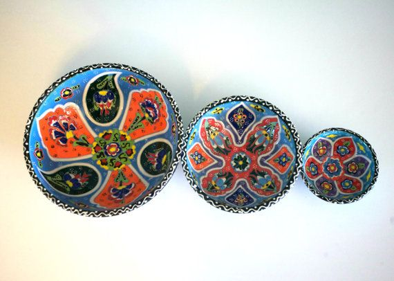 3x TURKISH CERAMIC BOWL SET OF THREE, BLUE