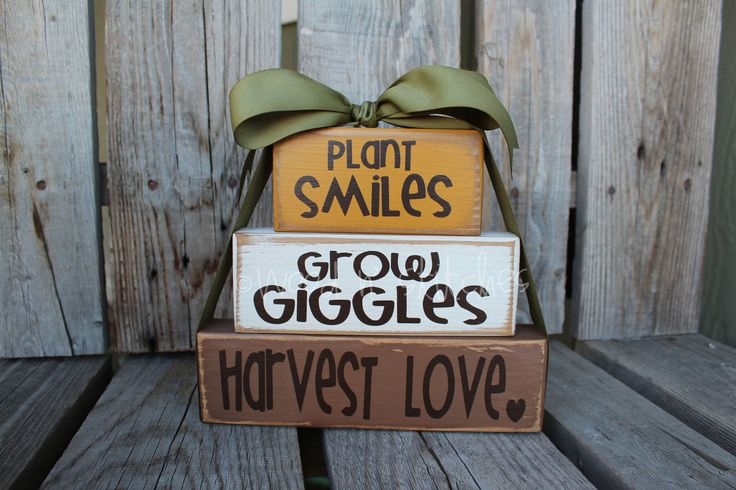 Primitive Autumn Fall Grow GIGGLES Plant SMILES Harvest LOVE Wood block set fall autumn pumpkin home seasonal decor personalized gift. $18.95, via Etsy.
