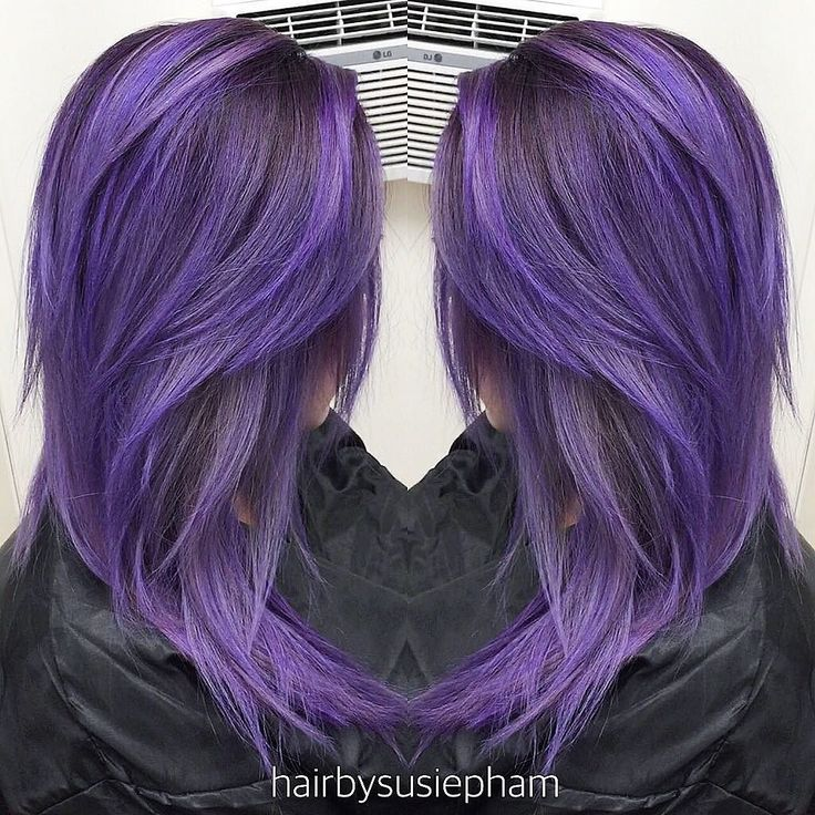 Haircut and Color. Transformed my girl today with #pravanavivids @pravana @guy_tang. Used deep Violet as Formula 1 at her roots and smudged it down to where the brass ends then melt it into Formula 2 (mixture of Silver and a dot of Blue with a dot of Violet added Olaplex 2 to dilute the color). by hairbysusiepham