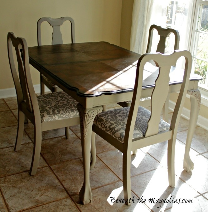 Refinished dining table and chairs for the home pinterest table and chairs glaze and pain - Refinished kitchen tables ...