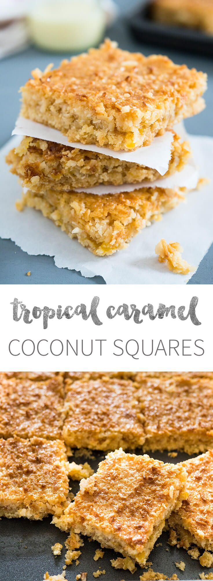 Tropical Coconut Squares taste like candy bars! Three delicious layers topped with sweetened condensed milk make this dessert a tropical little summer treat.