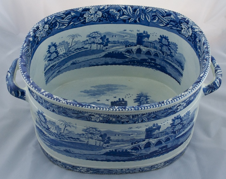 Staffordshire transfer printed foot bath, c.1820.