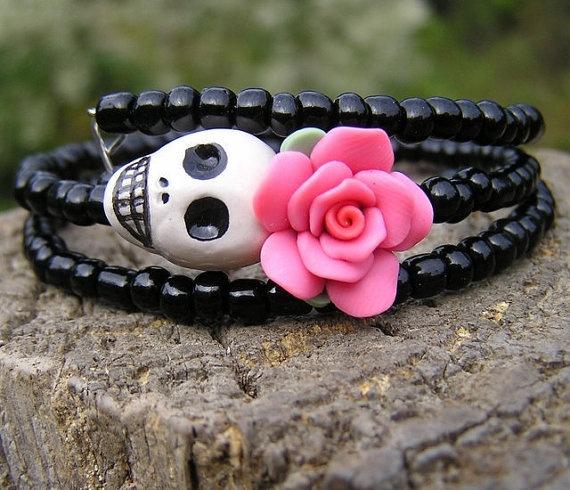 Wrap around bracelet - $7.99Dead Wraps, Skull Bracelets, Jewelry Bracelets, Of The, Dead Bracelets, Dead, Day, The Originals, Dead Sugar