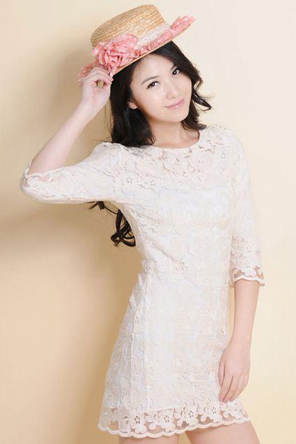 ROMWE | Hollow Lace Crochet White Dress, The Latest Street Fashion #RomwePartyDress