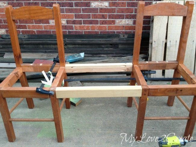 Old Chairs into New Bench - My Repurposed Life®