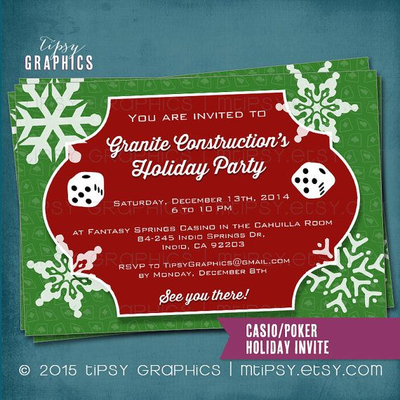 Company Holiday Poker Or Casino Theme Party Invite Any Colors Occasion