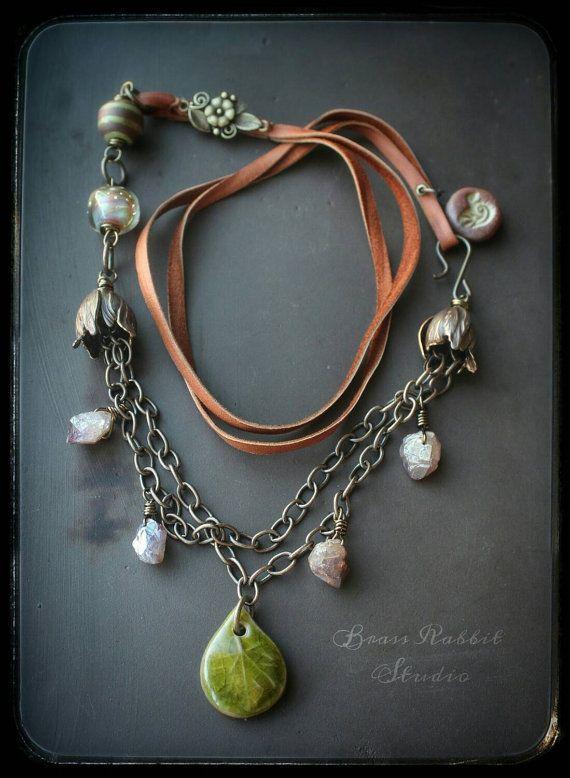 Богемный длинные очарование ожерелья, драгоценные камни, ~земные побрякушки~, земляной, деревенский, ремесленник
