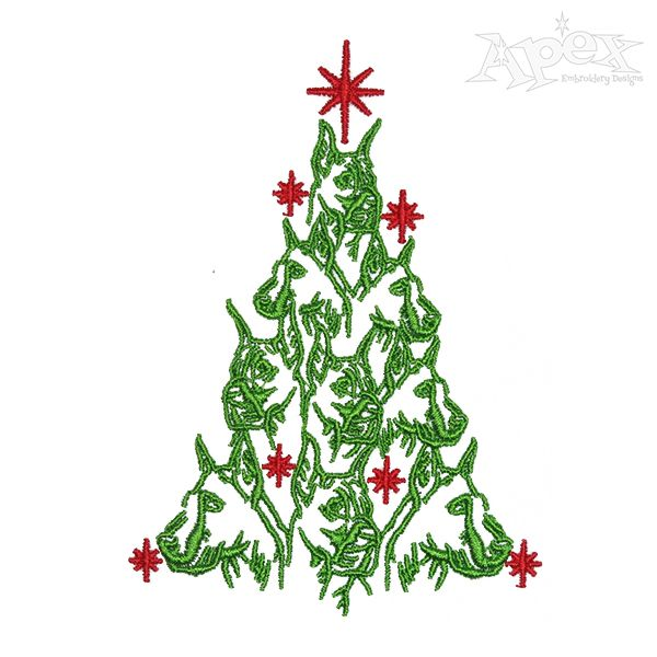 Great Dane Christmas Tree Embroidery Design In 2020 Christmas Tree Embroidery Design Christmas Embroidery Designs Embroidery Designs