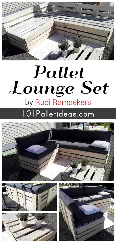 DIY Pallet Lounge Furniture Set | 101 Pallet Ideas