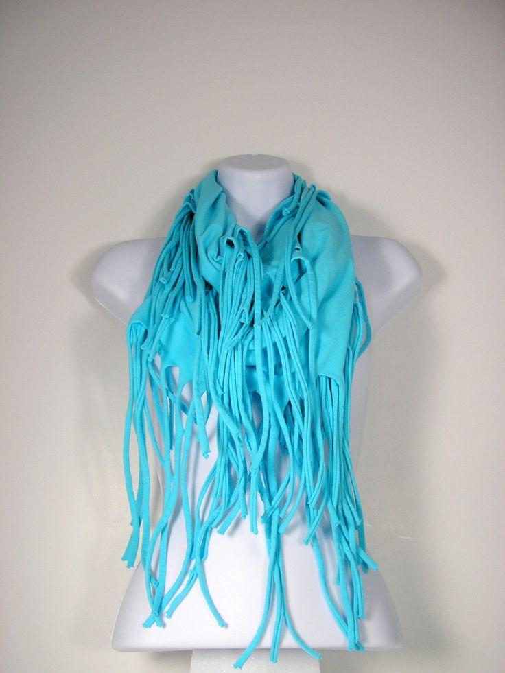 Aqua Fringe Scarf T- Shirt Scarves Fringe Scarf T Shirt Scarf Aqua Tshirt Scarf Blue Scarves Fringe Infinity Scarves Fringe Western Scarves by LooptheLoop on Etsy