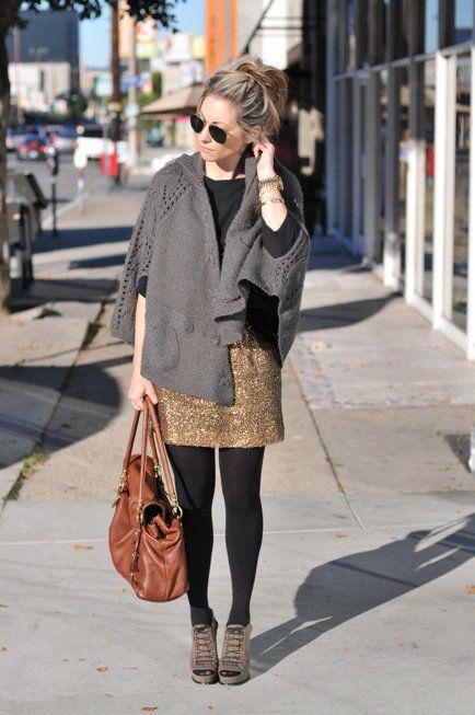 Separei algumas produções bacanas com saias douradas. Fotos: Reprodução/cupcakesandcashmere