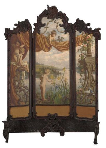 """""""An Allegory of Spring"""" 19th Century Dressing Screen -- $16,500"""