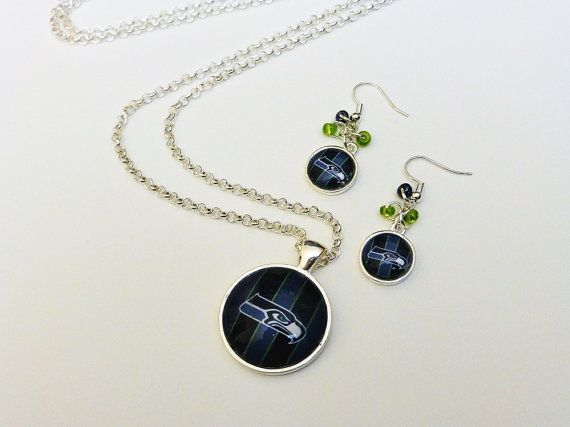 Superbowl Champions Seattle Seahawks Handmade Necklace and Earring Set by CloudlessSkyJewelry, $16.00