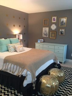 Mint gold and grey bedroom; minus those   stupid looking gold ottomans, I'm a fan of the color scheme