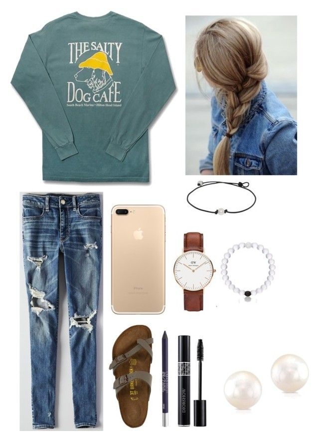"""""""lake house bonfire"""" by courtneyr12 ❤ liked on Polyvore featuring Comfort Colors, Urban Decay, Anne Sisteron, American Eagle Outfitters, Birkenstock, Christian Dior and Daniel Wellington"""