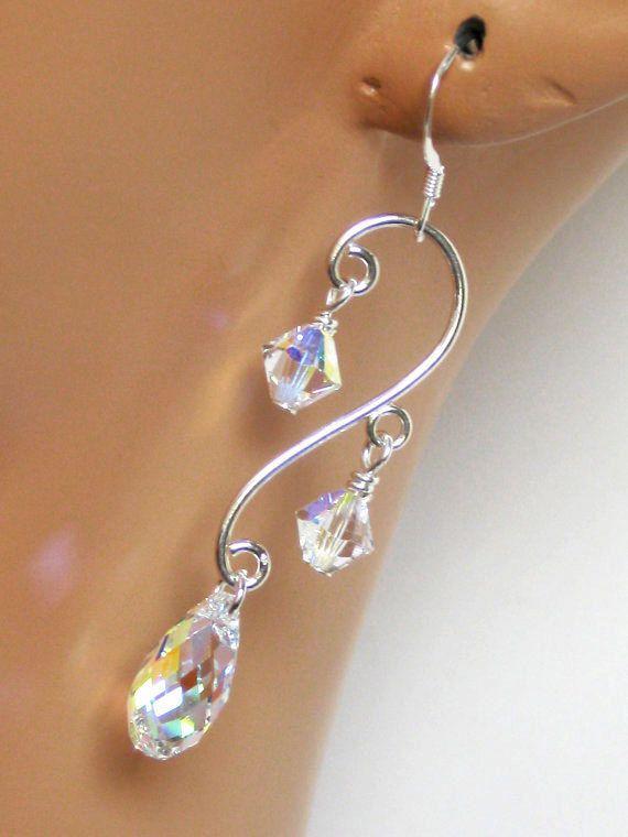 Bijoux de mariage, mariage boucles d'oreilles, boucles d'oreilles mariées, bijoux de mariée, boucles d'oreilles cristal, cadeaux de demoiselles d'honneur
