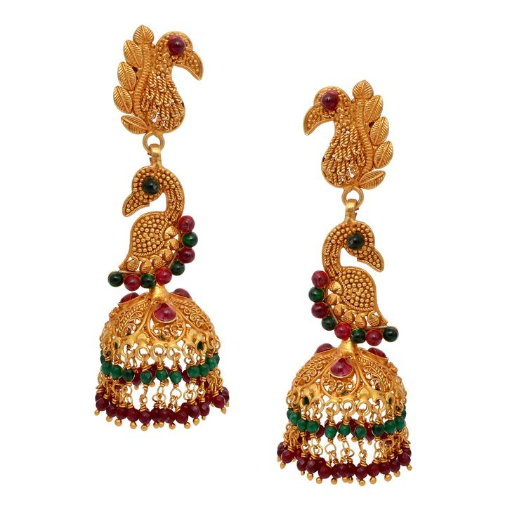Silver Antique Jewellery   Hanging Annapakshi Antique Silver Jimmiki   GRT Jewellers