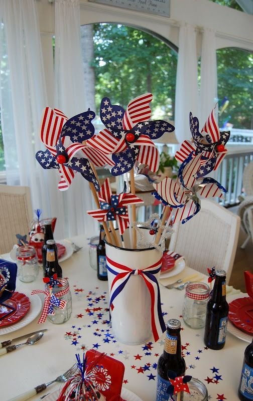 4th of July Table Centerpiece.  White metal container filled with red,white and …