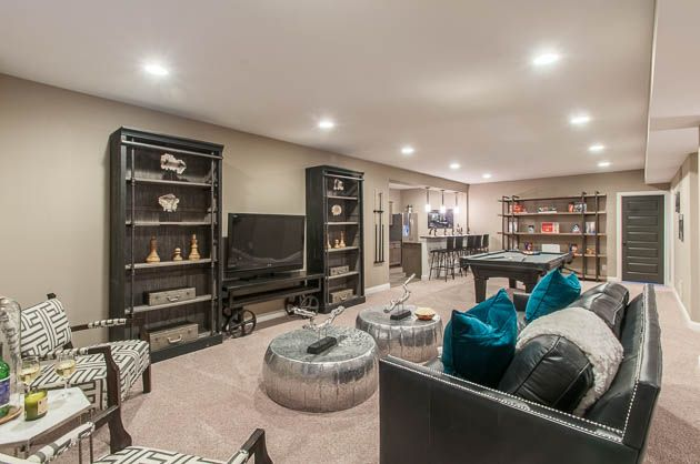 finished basement with entertainment area and wet bar shadowood rh pinterest com Colorado Finished Basements Finished Basement Ideas
