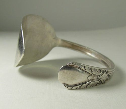 Have a cool-looking vintage spoon? Bend and flatten it until it turns into the perfect cuff bracelet.  Source: Etsy user thebeadedlizard