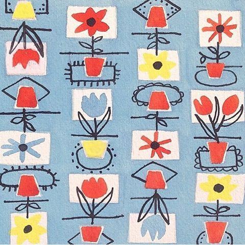 Sheila Bownas. A neglected midcentury textile designer. Follow @sheilabownas to find out more. Sheila Bownas' archive is beautifully curated by Chelsea Cefai who is working towards a retrospective of her work next year. Recommended. #midcenturymodern #sheilabownas #curating #surfacepattern #textiles