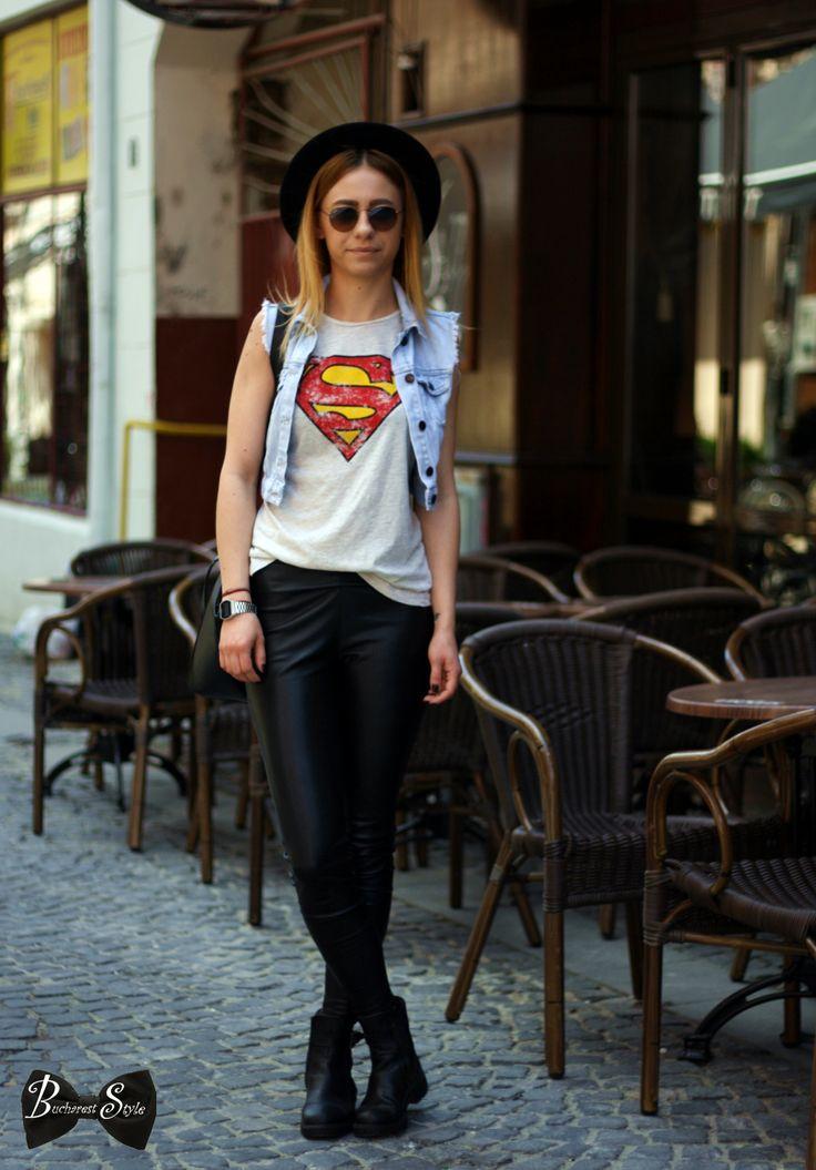 bucharest style, tight, hat, superman shirt, bucharest fashion, cool