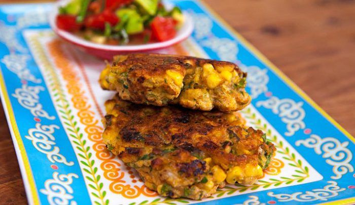 Corn and Coriander Fritters with Avocado Salsa - Good Chef Bad Chef