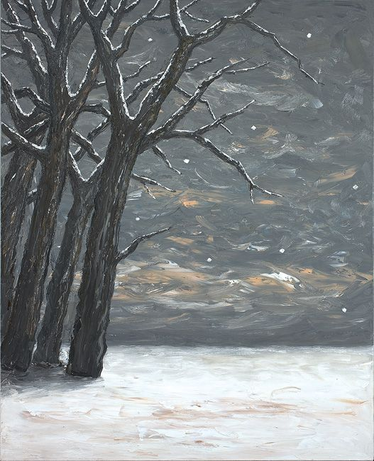 Peter Booth Painting (trees in snow) OLSEN IRWIN stockroom. The Gallery represents established artists such as John Olsen, as well as nurturing maturing and emerging artists.