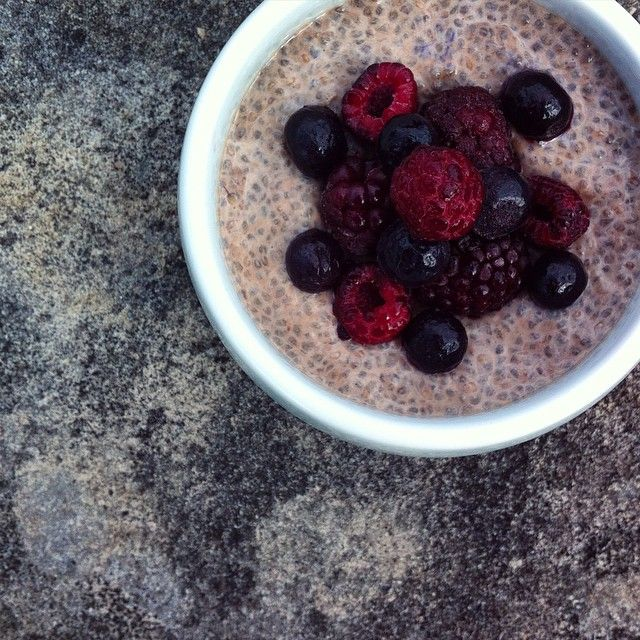 Classic flavour combo. Cacao chia pudding topped with blackberries, raspberries and blueberries. A simple but satisfying snack.