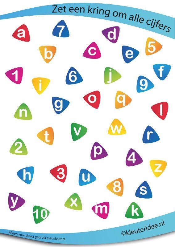 Zet een cirkel om alle getallen, juf Petra van kleuteridee.nl , rekenen met kleuters, put a circle around all the numbers, free preschool printable.